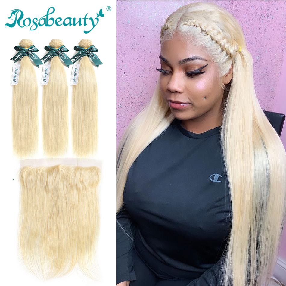 Rosabeauty Straight Human Hair 613 Blonde Bundles with Frontal Closure with Baby Hair Brazilian Bundles Bleach