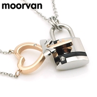 2015 Pendant Heart Key Lock Necklace For Lovers Fashion S Steel Couple Jewelry Top Quality For