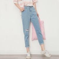 2018 Fashion Vintage Ladies Retro High Waist Jeans Woman Boyfriend Casual Hole Harem Denim pants For Women F262