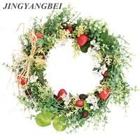 Artificial flowers plastic Eucalyptus plants Fake fruit Strawberry berry Round wreath wedding flower Background props