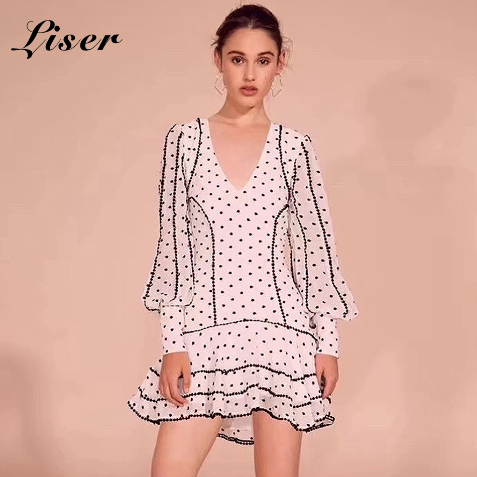 Party Blanc Robe Cou Sexy 2018 Robes Noir New Celebrity V Femmes blanc Élégante Liser Noir Volants Dot Summer Moulante Aq76wYI4I