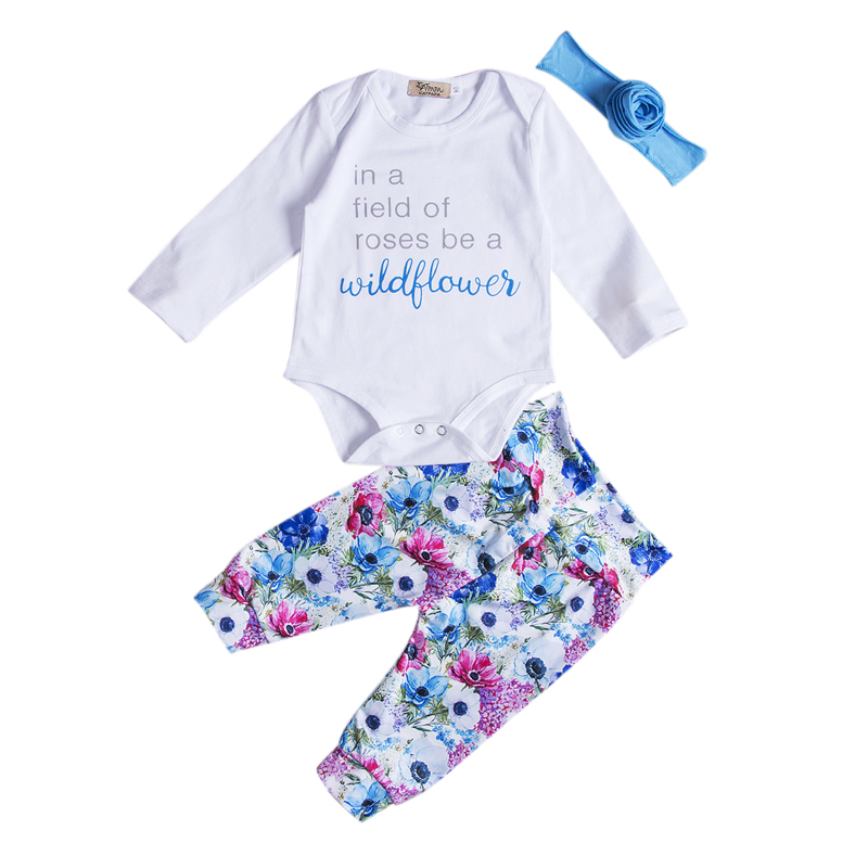 4pcs Newborn Baby Girl Clothes Letter Jumpsuit Romper Floral Long Pants Headband Outfits Set C