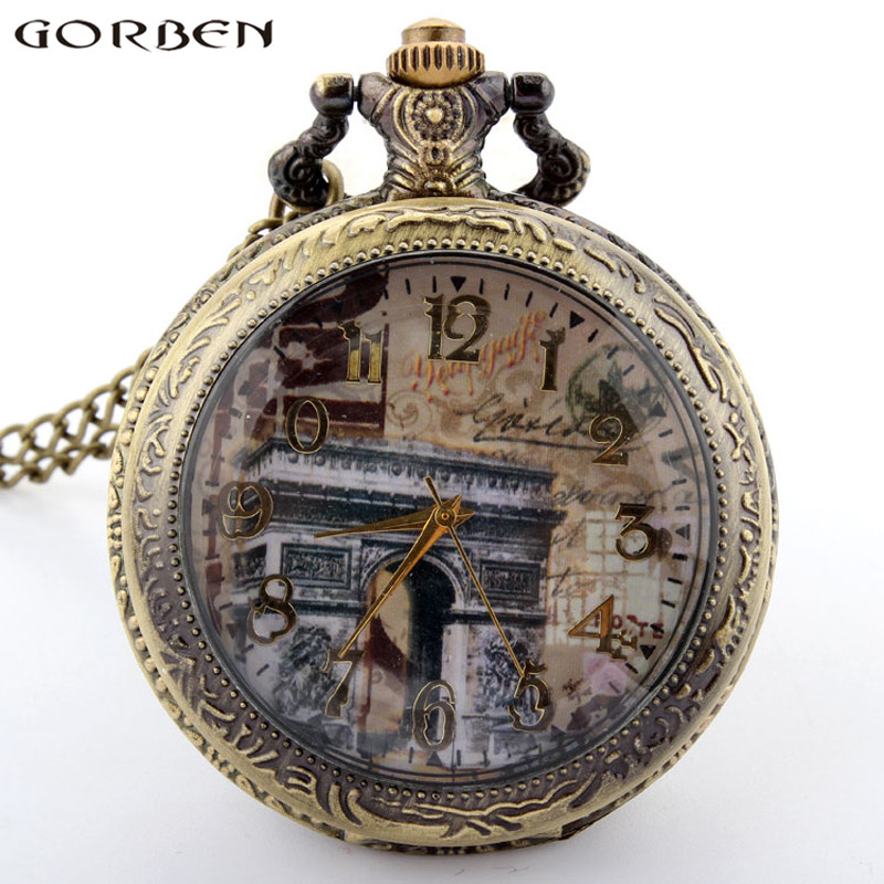 2020 New Gorben Pocket Watch Paris Arc De Triomphe Dial Round Pocket Watch Pendant Necklace Vintage Men Women Gift Long Chain