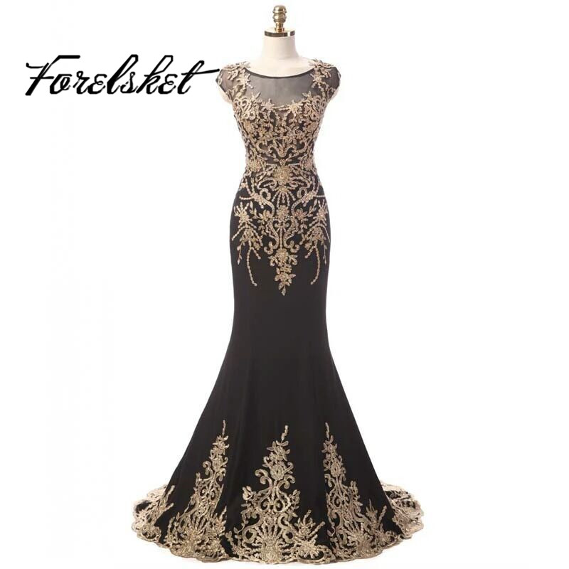 Long Evening Dresses 2019 lace Prom dresses short sleeves New Designer Style O Neck green Lace Appliques formal party dress