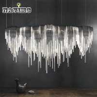 Modern Silver Stainless Steel Tassels Rectangular Pendant Light For Dining Room Restaurant Bar Post Modern Pendant