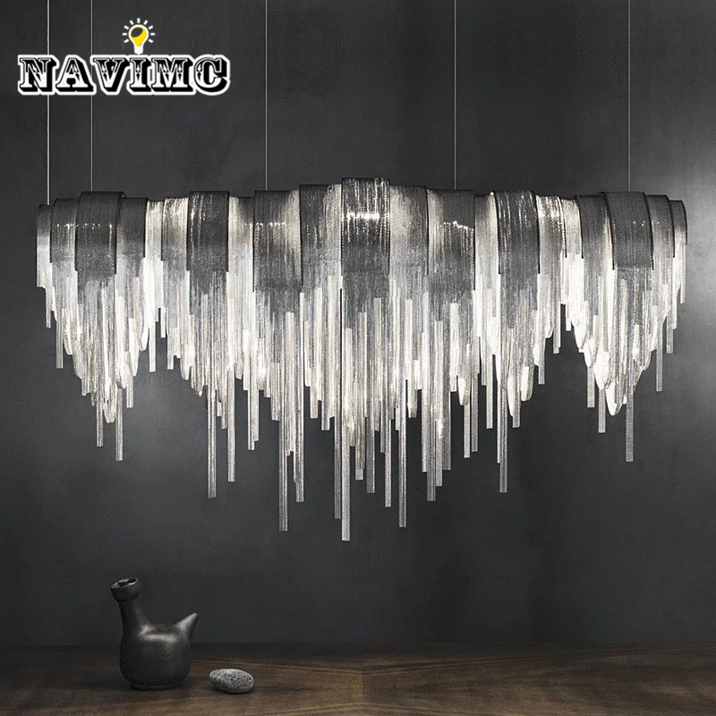 Modern Silver Stainless Steel Tassels Rectangular Pendant Light for Dining Room Restaurant Bar Post Modern Pendant Lamp 110CM creative nordic stainless steel pyramid bar counter pendant light post modern diamond hotel dining room pendant lamp fixtures