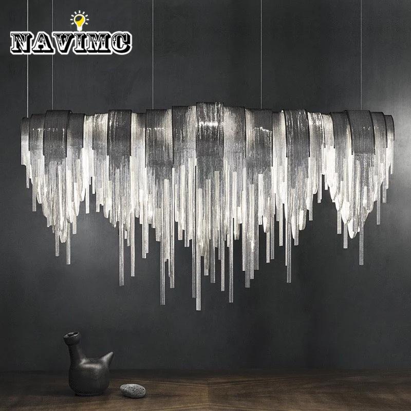 Modern Silver Stainless Steel Tassels Rectangular Pendant Light for Dining Room Restaurant Bar Post Modern Pendant Lamp 110CM