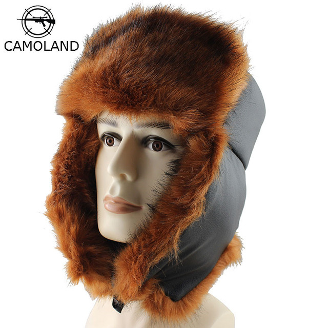CAMOLAND 2018 Mens Winter Fur Trapper Trooper Hat Bomber Hat with Ear Flaps  Warm Russian Ushanka Skiing Hunting Hats for Men 374d4d8db256
