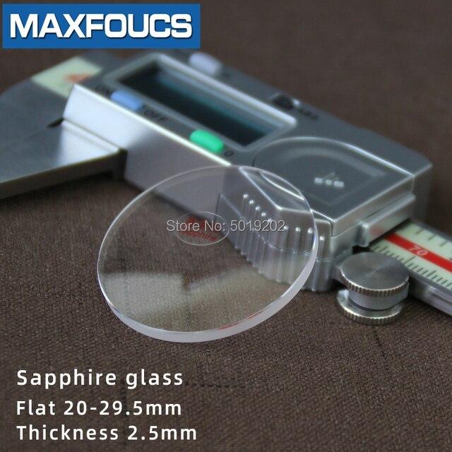フラット2.5ミリメートル2.2/2.3/2.4ミリメートル直径20〜29.5ミリメートルサファイアガラス腕時計部品ラウンド透明クリスタルガラス時計修理のための