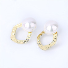 2019 Harmered Round Simulated Pearl Statement Stud EarringsTrendy freshwater pearl errings earrings womens