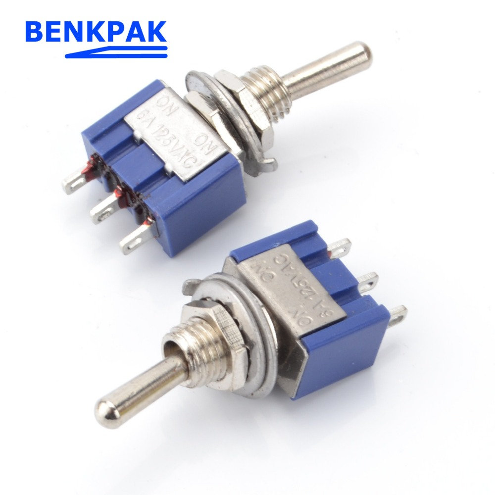 SPDT Mini Miniature Toggle Switch Single Connection MTS102 for Arduino Car Auto Truck Switches Blue AC 125V 6A ON-ON 3 Pins 2 Positions Small Switch 10 Pcs Toggle Switch