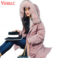 New winter jacket loose clothing hooded coat women's parkas Pink Yellow large raccoon fur collar outwear TOP quality D135
