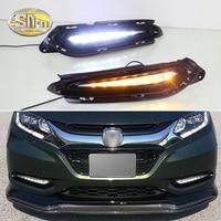 2PCS LED Daytime Running Light For Hyundai HRV HR V 2015 2016 2017 2018 Yellow Turn Signal Function Car DRL Fog Lamp Decoration
