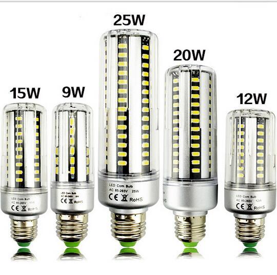 Светодиодные лампы 25 Вт 20 Вт 15 Вт 10 Вт 5 Вт мозоли 85-265 В E27 E14 e12 светодиоды лампы 5736 Кукуруза лампа лампада Алюминий радиатор Освещение