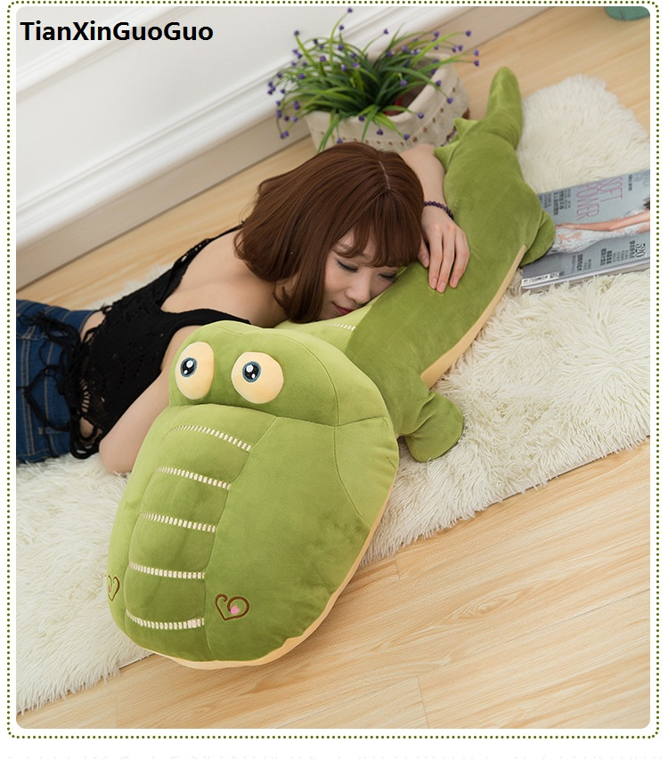 large 100cm cartoon green crocodile plush toy very soft doll throw pillow Valentine's Day gift w2548 new arrival toy huge 120cm cartoon fat hippo plush toy blue hippo doll soft pillow christmas gift w2532