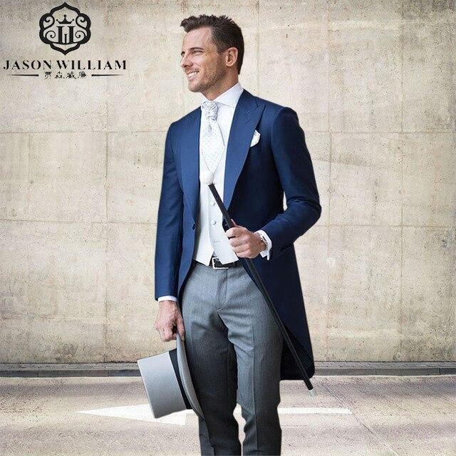 LN130 Custom Made Slim Fit Best Man Suit Groomsman Tailed Coat ...