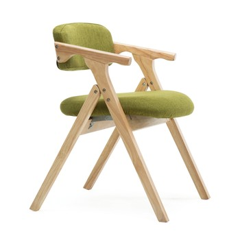 Dining chair Nordic wood dining chair modern minimalist fabric folding chair armrest backrest computer chair home living sofa