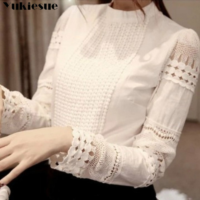 New Women Blouses Slim Bottoming Long-sleeved White Shirt Lace Hook Flower Hollow Plus Size S-5XL 2