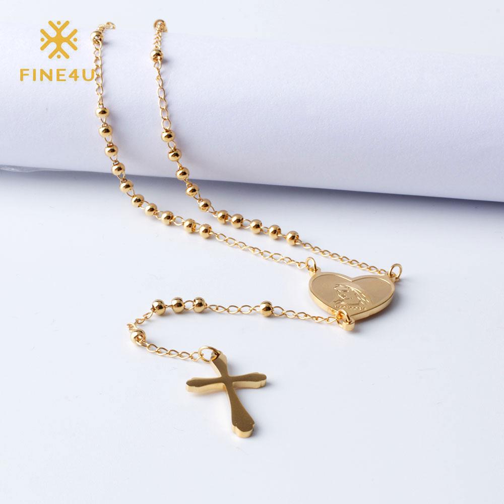 FINE4U N108 collana di crocifisso di gesù cristo per donna collana di perle di rosario lungo in acciaio inossidabile 316L collane con cuore di vergine maria 1