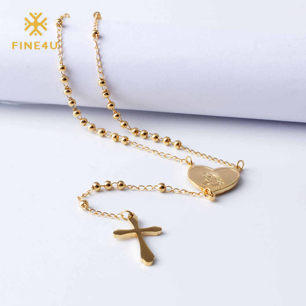FINE4U N108 Jesus Christ Crucifix Necklace For Women 316L Stainless Steel Long Rosary Beads Necklace Virgin Mary Heart Necklaces