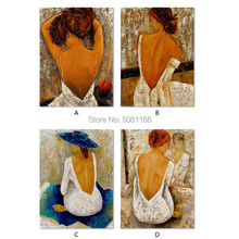 Brown Home Decoration figure Wall Art Picture old retro Hand-painted Abstract Women Painting Bohemia girl Oil on Canvas