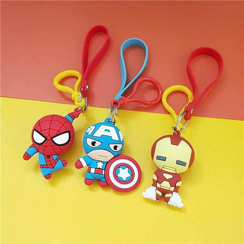 3D Cartoon Figure PVC Marvel Avengers Keychain Cute Superhero Batman Spider Man Key Chain Key Ring Kids Key Holder Trinket Gift in Key Chains from Jewelry Accessories