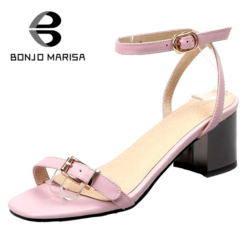 ФОТО BONJOMARISA Big Small Size 32-43 Hot Women Gladiator Ankle Straps Chunky Heel Summer Shoes Sexy Open Toe Platform Buckle Sandals