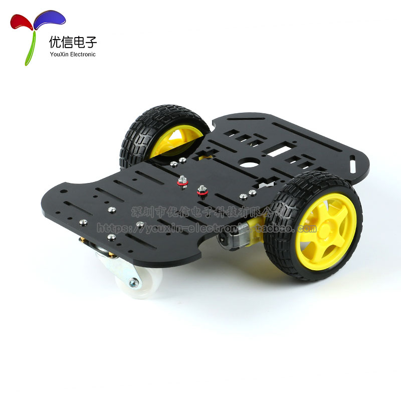 Intelligent car chassis robot obstacle avoidance car tracking vehicle 2 wheel drive code conveying disc Arduino 2 wheel drive robot chassis kit 1 deck