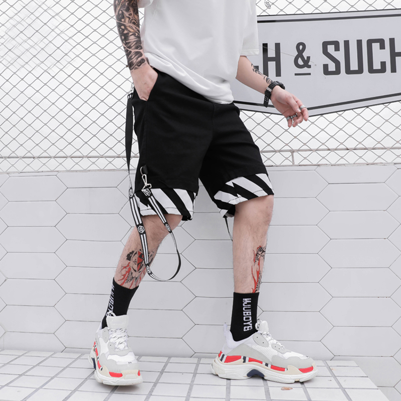 Bending line Side Buckle Ribbon Casual Cargo Shorts Mens Summer Hip Hop Pockets Solid Color Knee Length Short Pants Streetwear