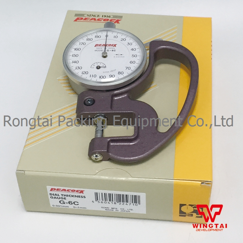 Original 0-1mm Japan PEACOCK Thickness Gauge 0.001mm Dial Thickness Tester G-6C