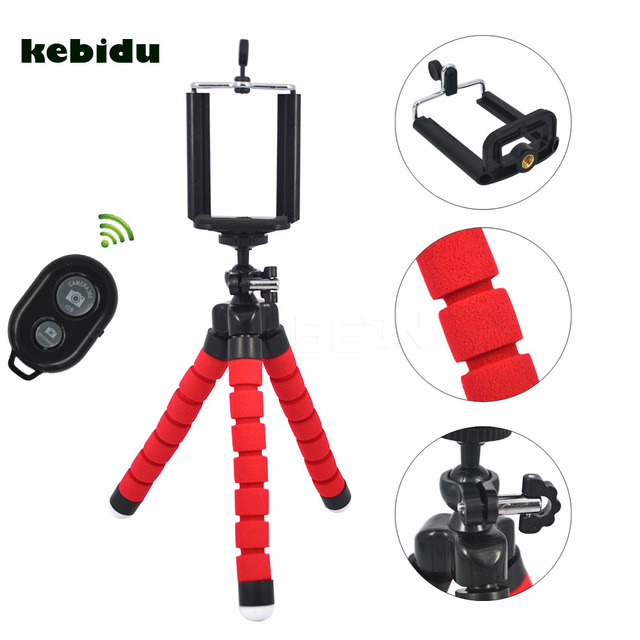 kebidu Car Phone Holder Flexible Octopus Tripod Bracket Selfie Stand Mount  Monopod Styling Accessories + Remote Control-in Live Tripods from Consumer