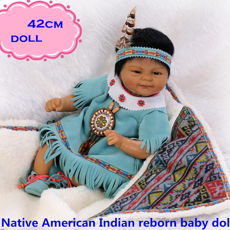 42cm New Native American Indian Silicone Reborn Baby Dolls In Unique Indian Costumes Rare Baby Doll Reborn For Best Gift корректирующее белье native корректирующий комбинезон 2 42