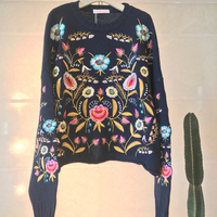 Floral Embroidered Knitted Sweater Pullover 2017 Autumn Winter Flower Long Sleeve Thicken Warm Bohemian Chic Cotton