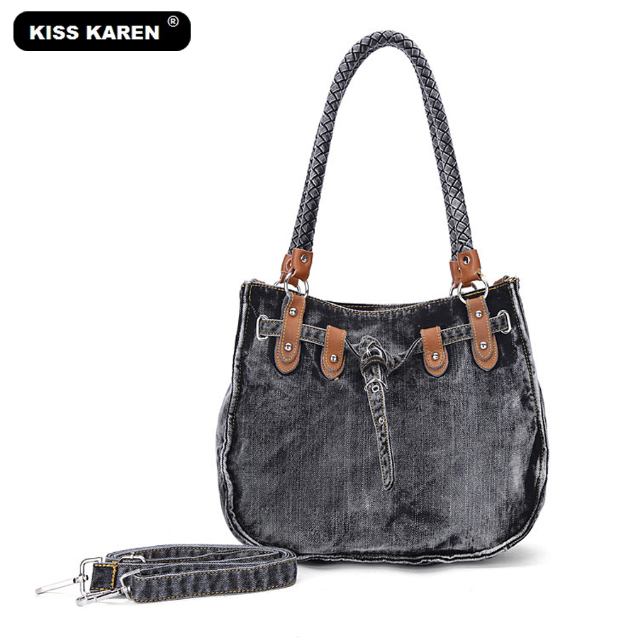 цены KISS KAREN Vintage Fashion Washed Denim Bags Jeans Womens Bag Luxury Tote Bag Women's Shoulder Bags Lady Handbags Casual Totes