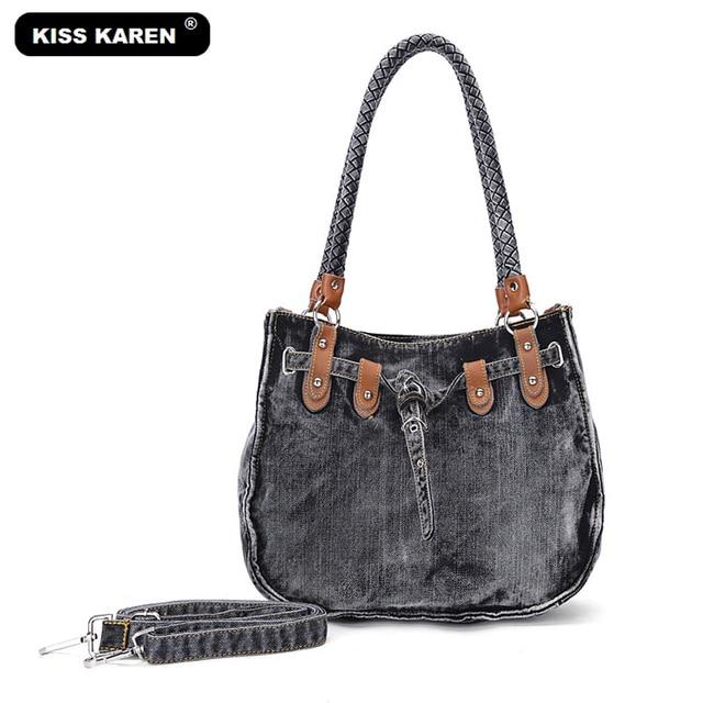 ef3e19d9e973 KISS KAREN Vintage Fashion Washed Denim Bags Jeans Womens Bag Luxury Tote  Bag Women s Shoulder Bags Lady Handbags Casual Totes