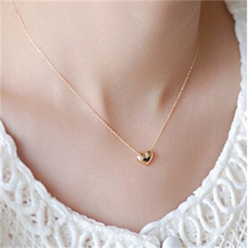 Simple Chains Necklaces Delicate Gold Small Heart Necklace&Pendant ...
