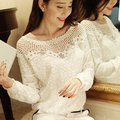 Women Lace Shirt  Slim Tops Beaded Embroidery Neck Short Sleeve Hollow Crochet Chiffon Blouse Plus Size