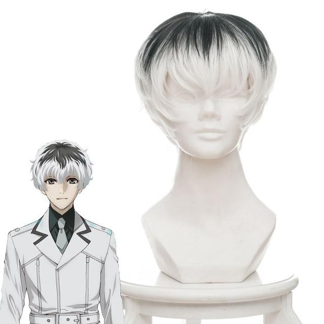 Anime Tokyo Ghoul Re White Black Short Hair Cosplay Wig For Boy Men