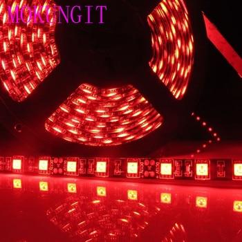 Mokungit 50M 60 pcs/m 300 LEDs 5050 SMD red color  LED Flexible Strip ribbon Light  DC12V Not Waterproof for Home Garden