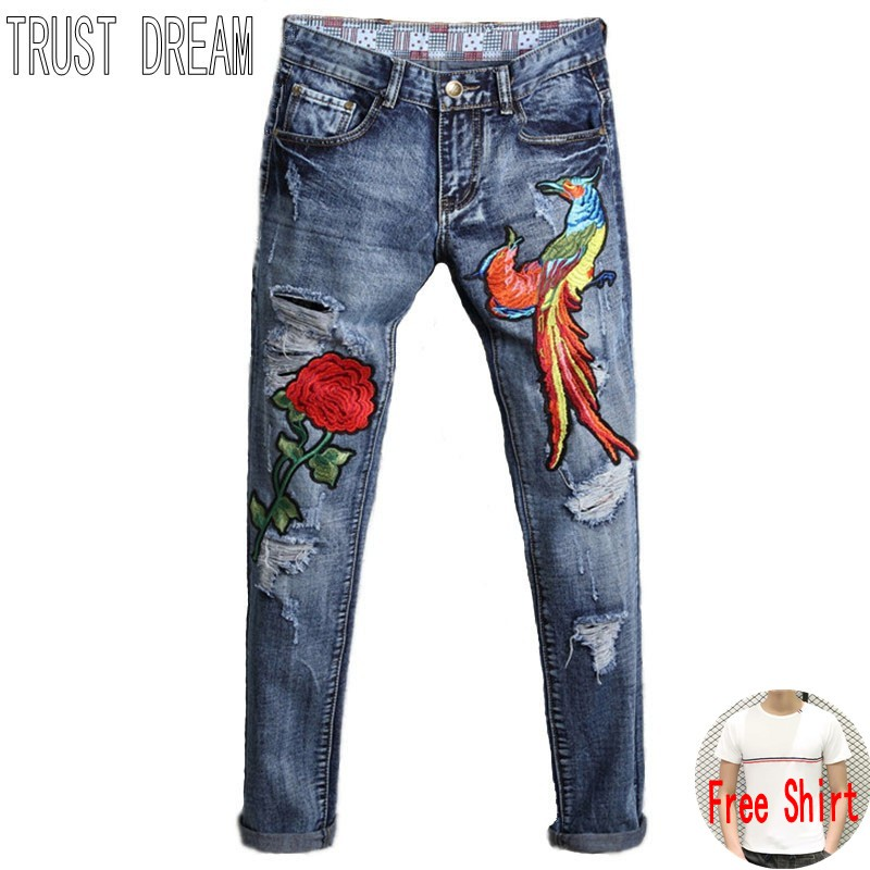 TRUST DREAM Europeans Designed Men Embroidered Red Rose Peacock Ripped Hole Jean Casual Distressed Slim Denim Man Fashion Jeans l jean camp trust