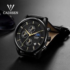 Image 2 - Cadien montre de luxe pour hommes, montre bracelet à Quartz, étanche, Phase lunaire, mode montre cuir décontractée