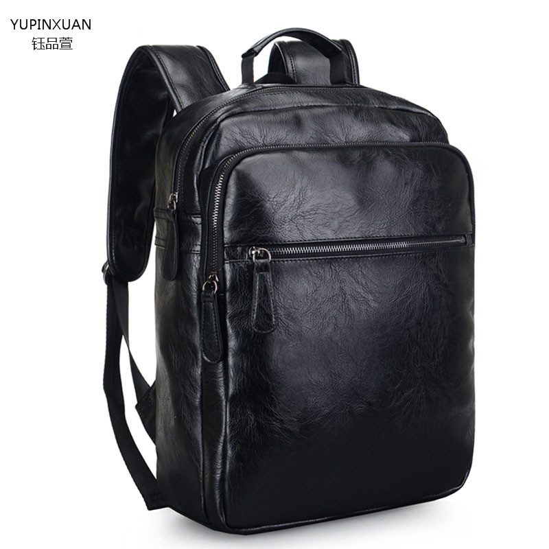 ФОТО YUPINXUAN Leather Backpacks Waterproof Male Large Capacity Travel Backpack Black Leather School Laptop Back Packs Mochila Bigs