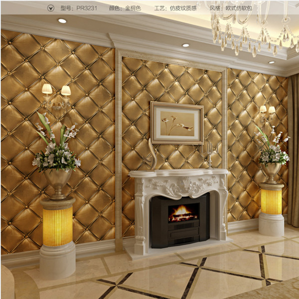 10M European 3D Stereoscopic Soft Pack Faux Leather Textured Wallpaper Modern Luxury Bedroom Wall Paper Roll For Living Room