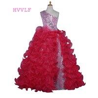Red 2018 Girls Pageant Dresses For Weddings Ball Gown One shoulder Sequins Ruffles Flower Girl Dresses For Little Girls