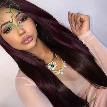 99j Color Long Silky Straight Human Hair Wig Unprocessed Brazilian Virgin Hair Lace Front Wigs With Baby Hair For Black Woman