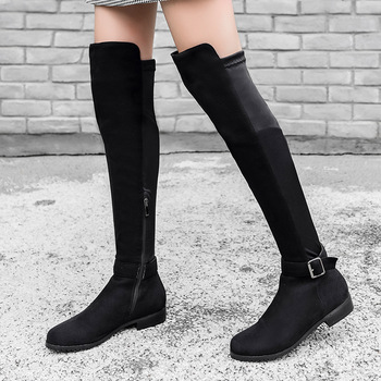 Thigh High Boots Low Heel Woman Stretch Fabric Over The Knee Boots Ladies Buckle Strap Riding Boots Designer Shoes Botines Mujer