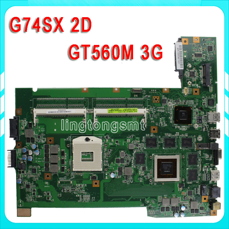 for ASUS G74SX laptop motherboard 2D connector 12 memory DDR3 2 Ram Slot GTX560M fully test 8cells new battery for asus a42 g74 lc42sd128 g74 g74j g74s g74sx g74sw g74jh g74sx xr1 g74sx xc1 g74sx fhd tz048v g74sx xa1