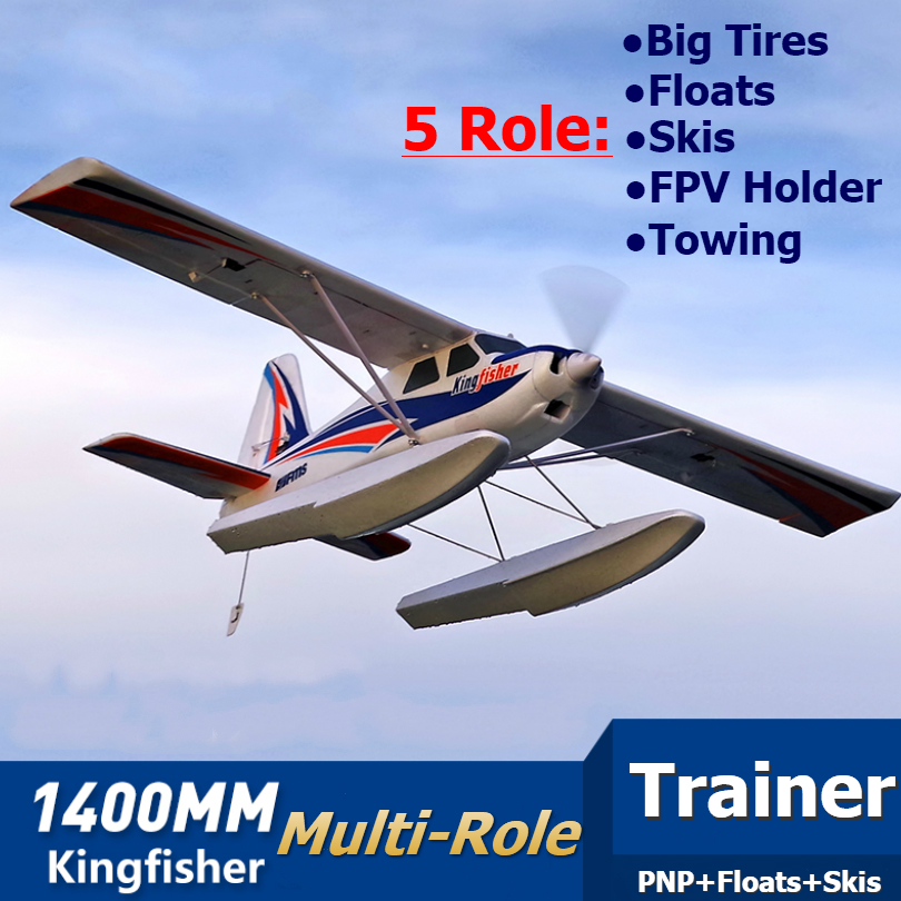 FMS RC Airplane 1400mm Kingfisher Trainer Beginner Water Plane 3S 5CH With Flaps Floats Skis PNP Model Plane Aircraft Avion New image