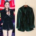 2017 mais novo verde escuro das mulheres collar entalhado blazer & ternos senhoras jaqueta de veludo de alta qualidade para o trabalho de escritório livre shipipng