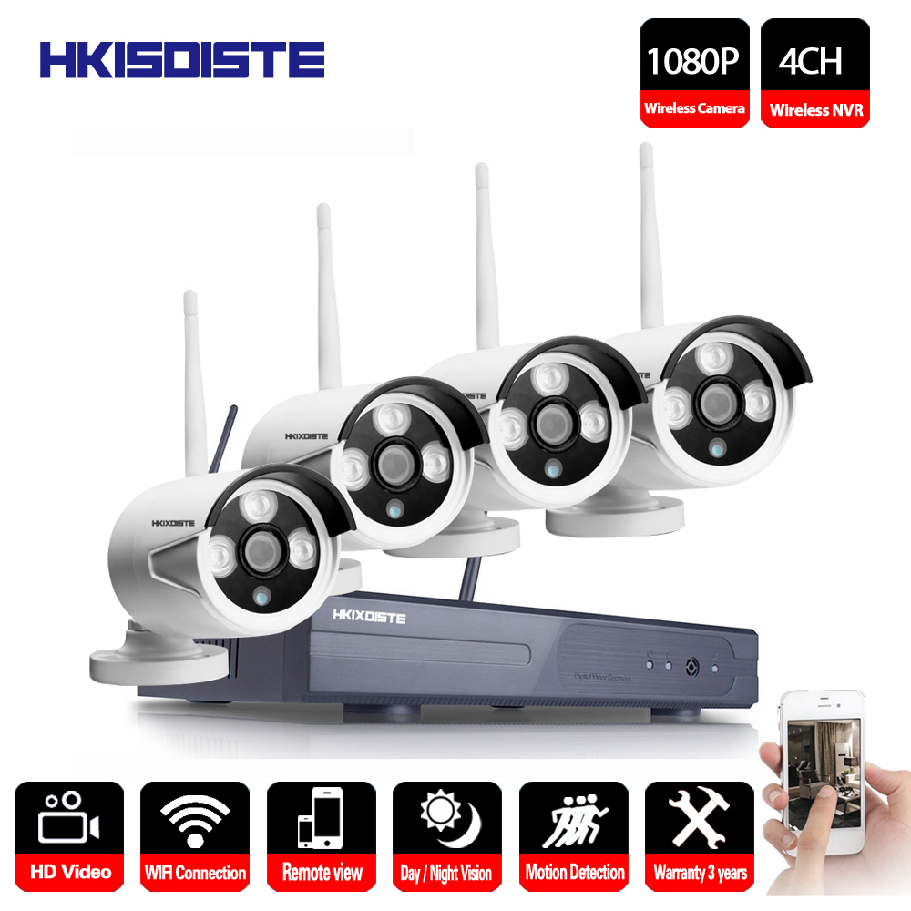 4CH 1080P Wireless NVR CCTV System Set P2P 4pcs WIFI IP Camera Outdoor 2.0MP Waterproof Security Video Surveillance Kit image